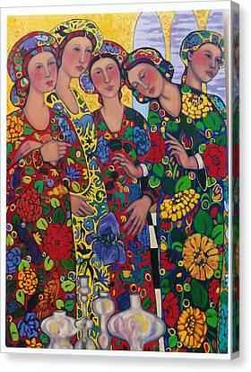 Five Women And The Iris Canvas Print by Marilene Sawaf