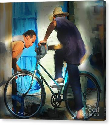 Fixing A Bike - Cuba Canvas Print by Bob Salo