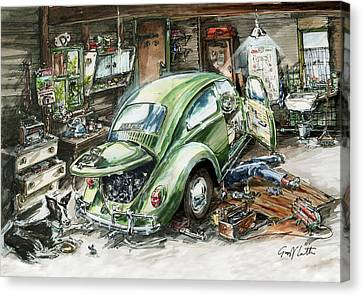 Graham Fixing His Green Vw Beetle With Help From Teddy Canvas Print by Geoff Latter