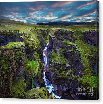 Nature Scene Canvas Print - Fjadrargljufur by Inge Johnsson