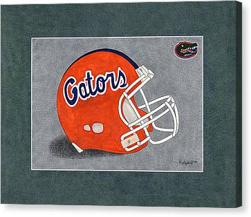Fla. Gators Helmet T-shirt  Canvas Print by Herb Strobino
