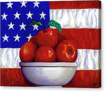 Fruit Canvas Print - Flag And Apples by Linda Mears