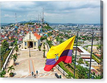 Flag And Church In Guayaquil Canvas Print by Jess Kraft