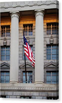 Canvas Print featuring the photograph Flag And Column by Greg Mimbs