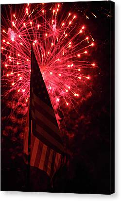 Flag And Fireworks Canvas Print by Alan Look