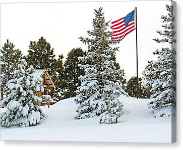 Snow Flag Canvas Print - Flag And Snowy Pines by Dawn Key