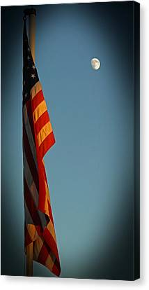 Flag And The Moon Canvas Print by Charles Ables