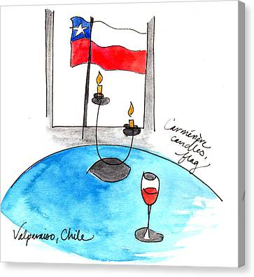 Flag And Wine Canvas Print