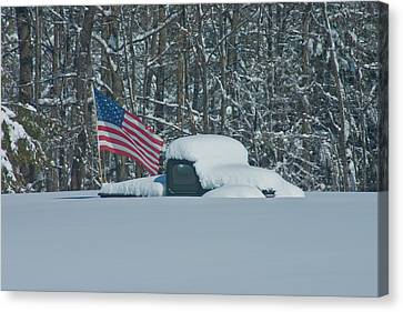 Canvas Print featuring the photograph Flag In The Snow by David Bishop