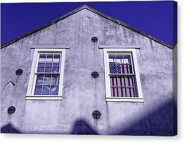 Flag In Window Canvas Print by Garry Gay