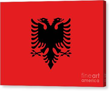 Canvas Print featuring the digital art Flag Of Albania Authentic Version by Bruce Stanfield