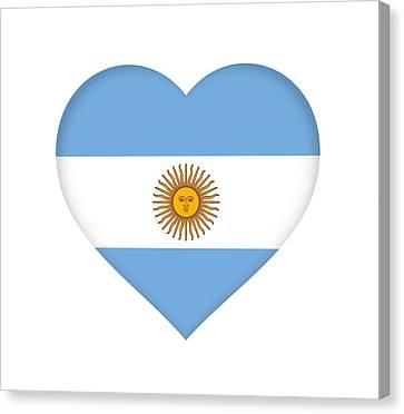 Flag Of Argentina Heart Canvas Print by Roy Pedersen