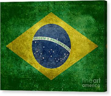 Canvas Print featuring the digital art Flag Of Brazil Vintage 18x24 Crop Version by Bruce Stanfield
