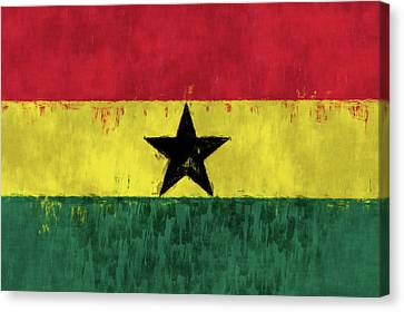 Flag Of Ghana Canvas Print by World Art Prints And Designs