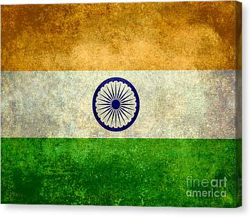 Canvas Print featuring the digital art Flag Of India Vintage 18x24 Crop Version by Bruce Stanfield