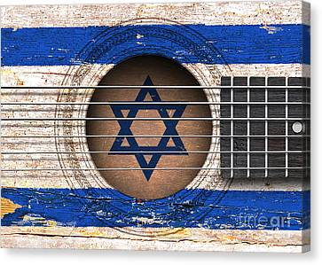 Flag Of Israel On An Old Vintage Acoustic Guitar Canvas Print