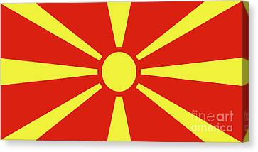Canvas Print featuring the digital art Flag Of Macedonia by Bruce Stanfield