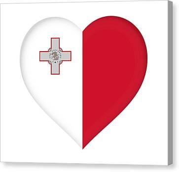 Maltese Canvas Print - Flag Of Malta Heart by Roy Pedersen
