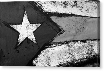 Flag Of Puerto Rico B W Canvas Print by Rob Hans