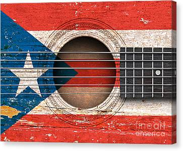 Flag Of Puerto Rico On An Old Vintage Acoustic Guitar Canvas Print by Jeff Bartels