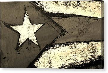 Flag Of Puerto Rico Sepia Canvas Print by Rob Hans