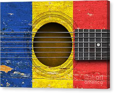Flag Of Romania On An Old Vintage Acoustic Guitar Canvas Print