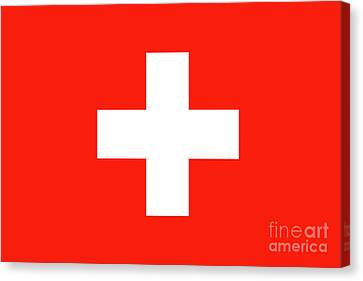 Canvas Print featuring the digital art Flag Of Switzerland by Bruce Stanfield