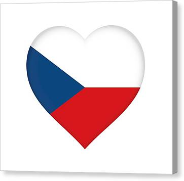 Flag Of The Czech Republic Heart Canvas Print by Roy Pedersen