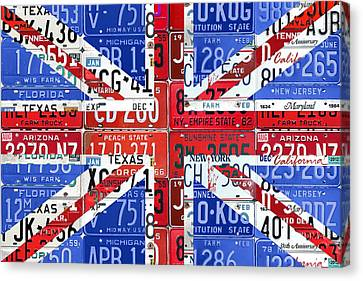 Flag Of United Kingdom Great Britain Union Jack From Recycled Vintage American License Plates Canvas Print by Design Turnpike