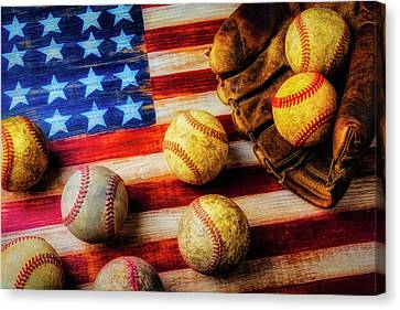 Flag With Baseballs Canvas Print by Garry Gay