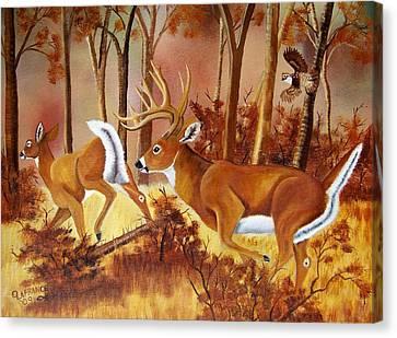 Flagging Deer Canvas Print by Debbie LaFrance