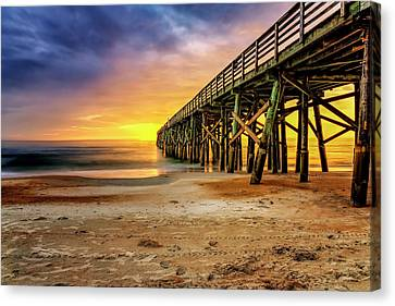 Flagler Beach Pier At Sunrise In Hdr Canvas Print