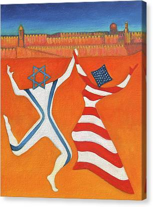 Flags Dancing With Israeli Man And American Woman       Canvas Print by Jane  Simonson
