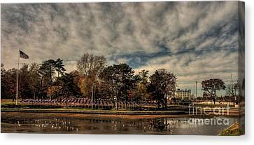 Canvas Print featuring the photograph Flags In Deering Oaks Park by David Bishop