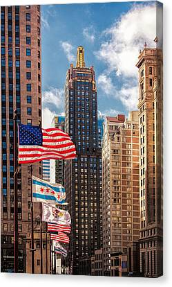 Flags Over Chicago Canvas Print by Andrew Soundarajan