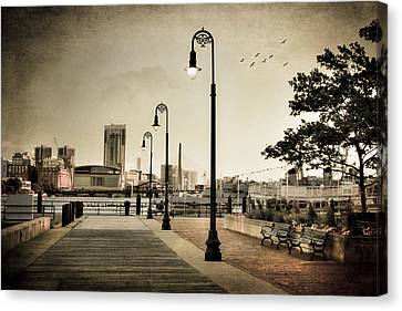 Canvas Print featuring the photograph Flagship Wharf - Boston Harbor by Joann Vitali