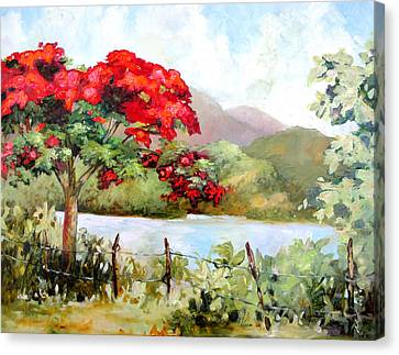 Flamboyan By The Lake Canvas Print by Monica Linville