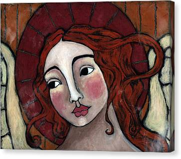 Flame-haired Angel Canvas Print by Julie-ann Bowden