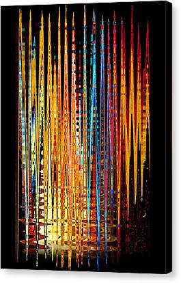 Canvas Print featuring the digital art Flame Lines by Francesa Miller