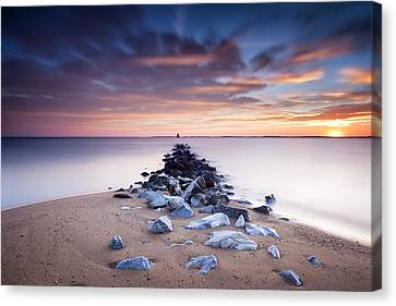 Canvas Print featuring the photograph Flame On The Horizon by Edward Kreis