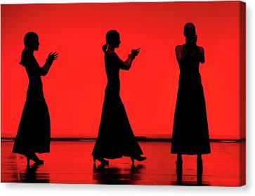 Flamenco Red An Black Spanish Passion For Dance And Rithm Canvas Print by Pedro Cardona
