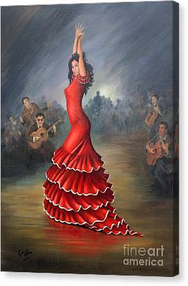 Red Dress Canvas Print - Flamenco Dancer by Mai Griffin