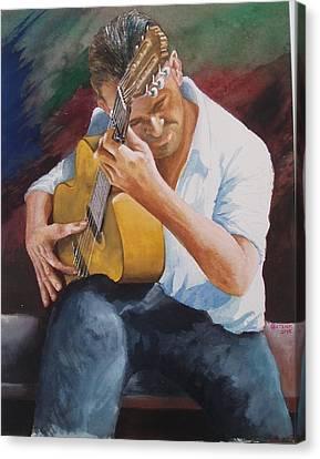 Flamenco Guitar Canvas Print by Charles Hetenyi