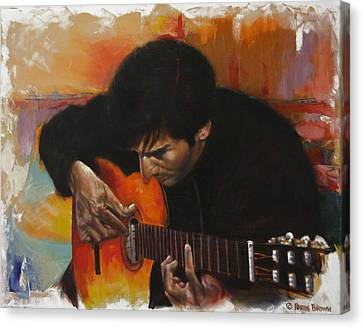Flamenco Guitar Player Canvas Print by Harvie Brown
