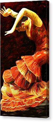 Canvas Print featuring the painting Flamenco Poise 2 by James Shepherd
