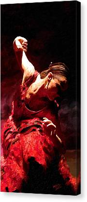 Canvas Print featuring the painting Flamenco Poise by James Shepherd