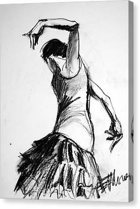 Dresses Canvas Print - Flamenco Sketch 2 by Mona Edulesco