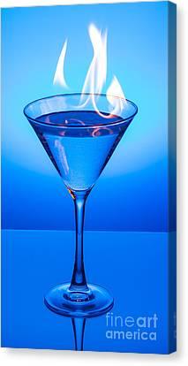 Flaming Blue Martini Canvas Print