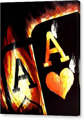 Flaming Bullets Pocket Aces Poker Art Canvas Print by Teo Alfonso