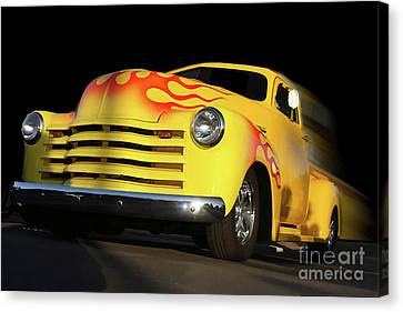 Flaming Chevy Canvas Print by Tom Griffithe